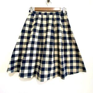 C. Luce blue/cream ghingam check skirt blue white